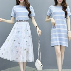韓國長版衣休閒裙洋裝兩件式