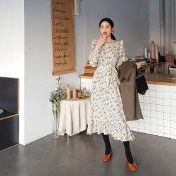 韓國春裝新款甜美優雅休閒長洋裝