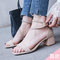 韓國真皮一字粗跟涼鞋