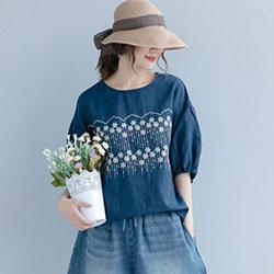 棉麻寬鬆花朵刺繡短袖T恤