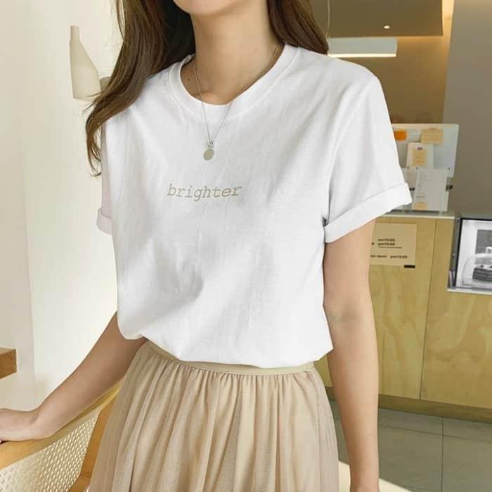 正韓 顯色字母袖反摺圓領棉質短袖上衣 (4色)