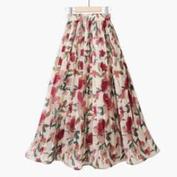 韓國風復古甜美高腰雪紡半身裙