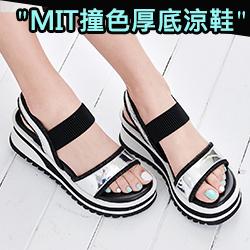 MIT接色一字厚底涼鞋
