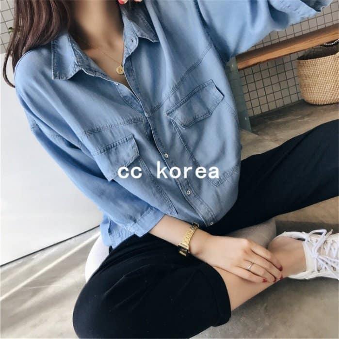 現貨 雙口袋天絲薄牛仔襯衫 CC KOREA