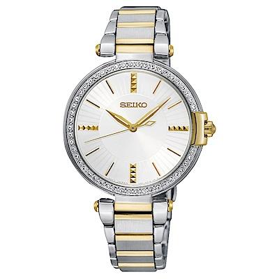 SEIKO 晶漾施華洛雙色調石英女錶(SRZ516P1)-白x33mm