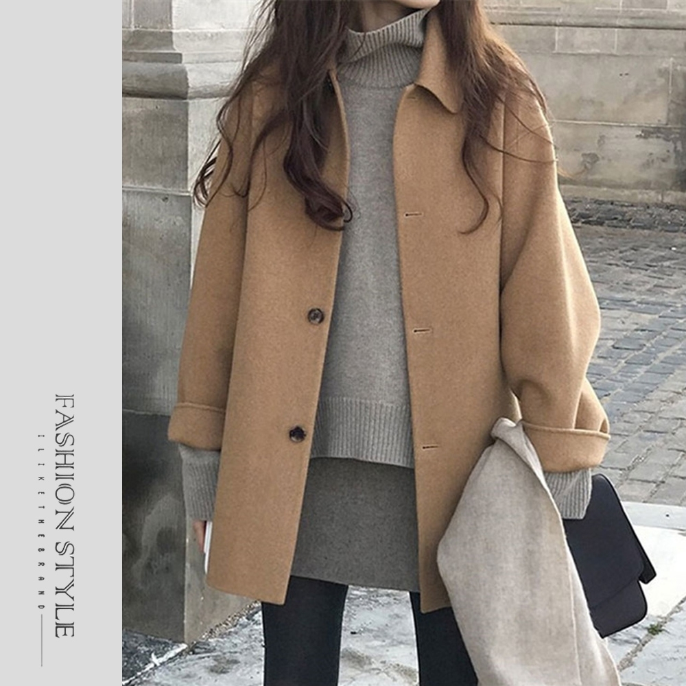 2F韓衣-簡約翻領保暖毛呢外套-2色(S-XL)