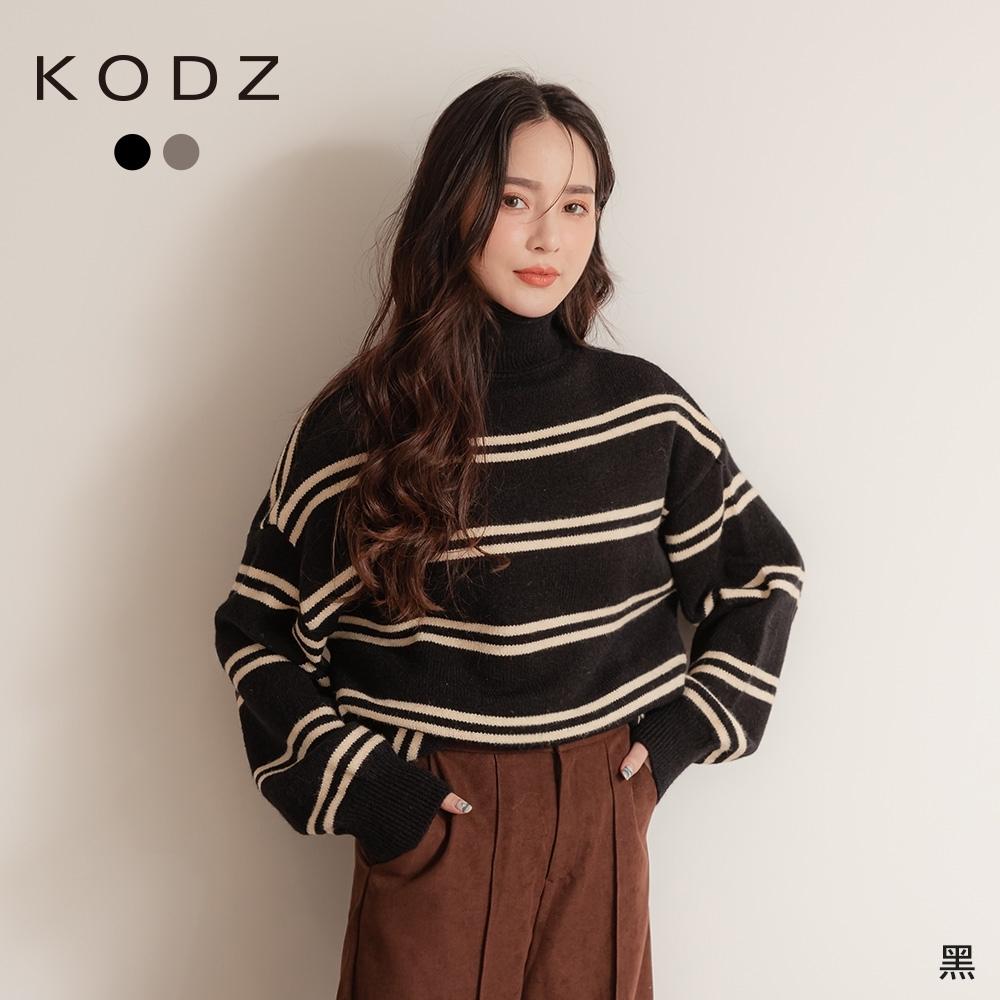 東京著衣-KODZ 霸氣女友高領條紋重磅毛衣/上衣