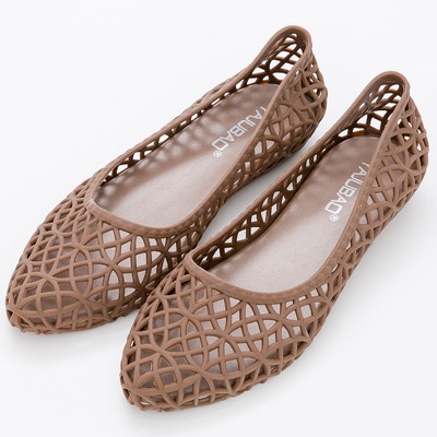River&Moon雨鞋-韓版鳥巢洞洞尖頭防水膠鞋-卡其棕