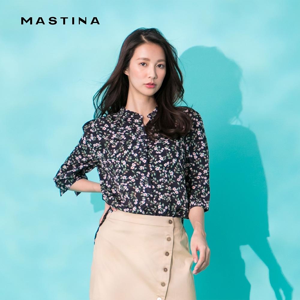 【MASTINA】復古碎花搭配-襯衫(藍色)