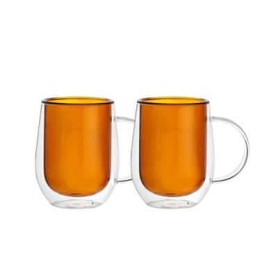 FUSHIMA富島 Addicted系列-雙層玻璃杯310ML-迷戀暖陽咖*2入