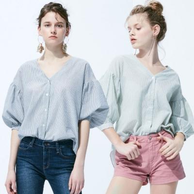 [時時樂限定]BRAPPERS 女款 撞色條紋縮口造型五分袖襯衫(二款選)