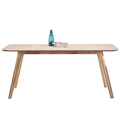品家居 凱布絲6尺橡膠木實木餐桌-180x90x75cm免組