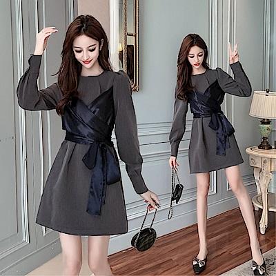 DABI 韓系復古假兩件收腰顯瘦高端氣質長袖洋裝