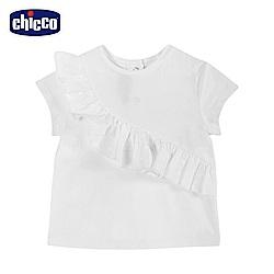 chicco-蔚藍晴天-荷葉剪接短袖上衣