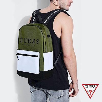 GUESS-男包-時尚撞色經典LOGO後背包-綠