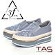 TAS異材質拼接厚底懶人鞋-天空藍 product thumbnail 1