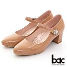【bac】復古風潮花朵鑽飾瑪莉珍粗跟高跟鞋-杏色