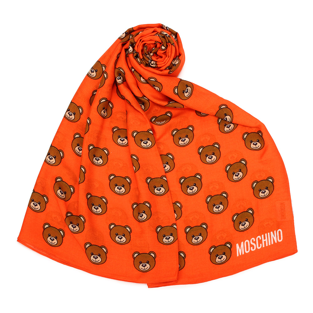 MOSCHINO 經典滿版TOY小熊圖樣100%莫代爾薄圍巾-亮橘色