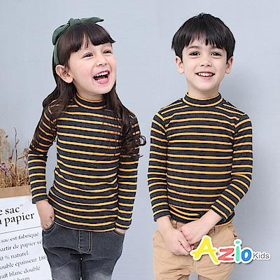 Azio Kids 上衣 磨毛條紋長袖保暖衣(黃)