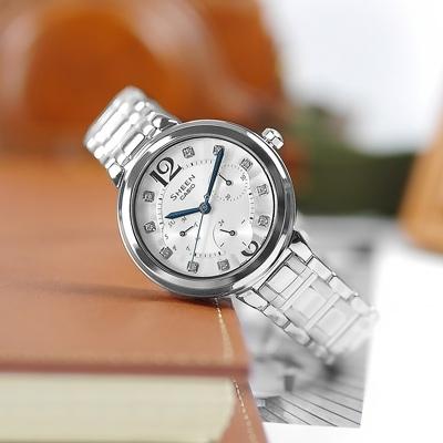 SHEEN CASIO 卡西歐典雅情人施華洛世奇三環不鏽鋼手錶-銀色/34mm