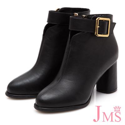 JMS-簡約美型金屬大方扣粗高跟短靴-黑色