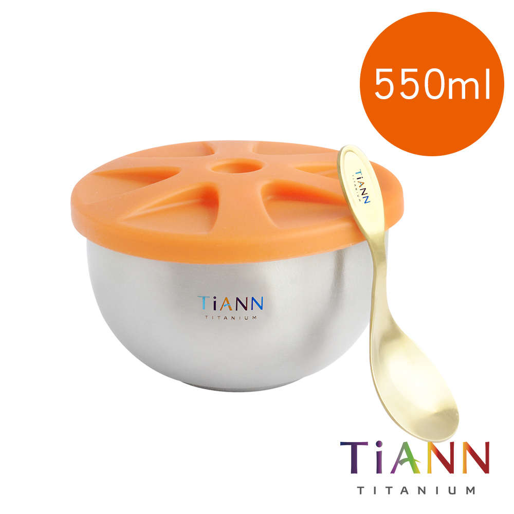 TiANN 鈦安純鈦餐具 550ml 純鈦雙層碗+小湯匙套組 含矽膠防漏蓋