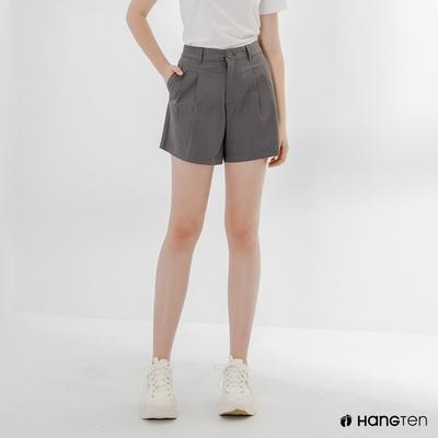 Hang Ten-女裝-REGULAR FIT打褶短褲-深灰色