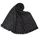 COACH 經典滿版LOGO羊毛混絲針織披肩圍巾-黑色