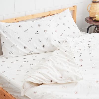 奶油獅-星空飛行-美國抗菌100%純棉床包兩用被套四件組(米)-雙人加大6尺