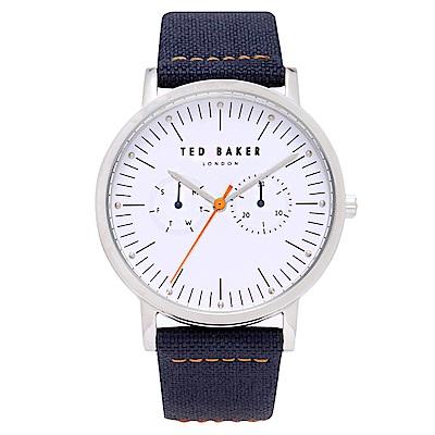 Ted Baker 英倫紳士風尚手錶-白X藍/40mm
