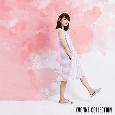 YVONNE 緹花條紋無袖洋裝-淺紫