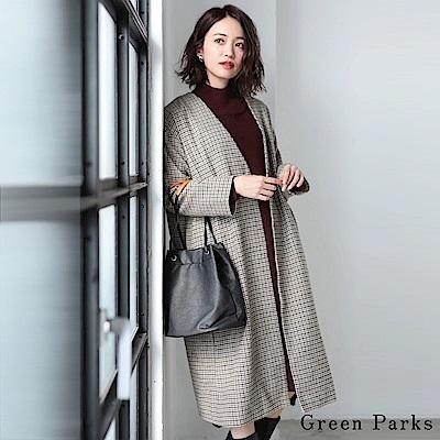 Green Parks 經典格紋V領長版大衣外套
