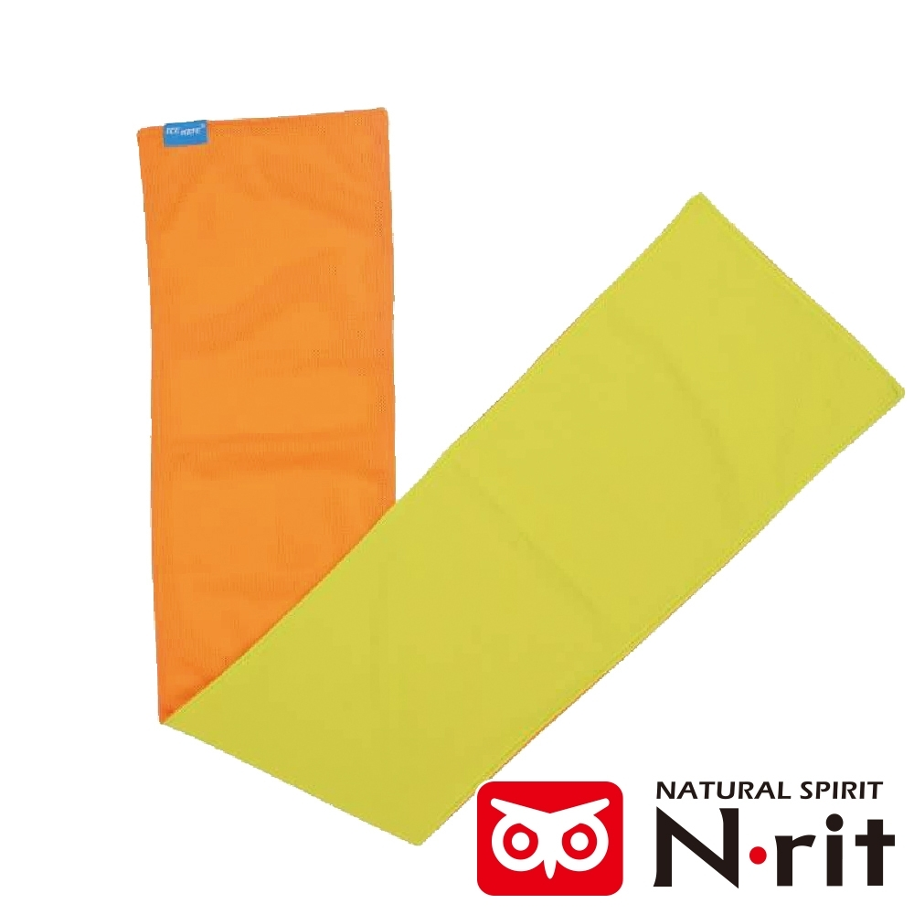 【N • rit 】ICEMATE雙面持續涼感快乾運動吸水巾(20X80CM)/NSC325橘/萊姆黃