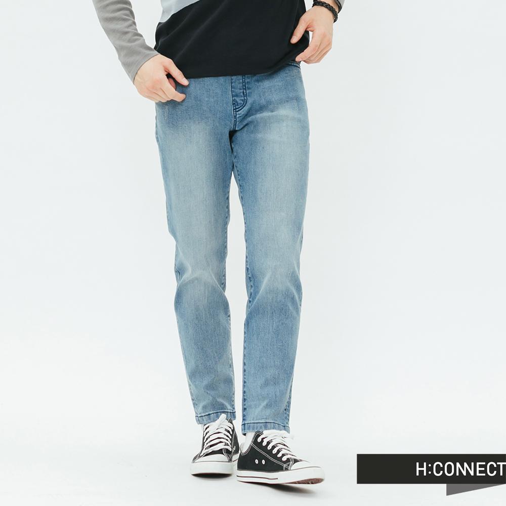 H:CONNECT 韓國品牌 男裝-微磨破鬆緊綁帶牛仔褲-藍