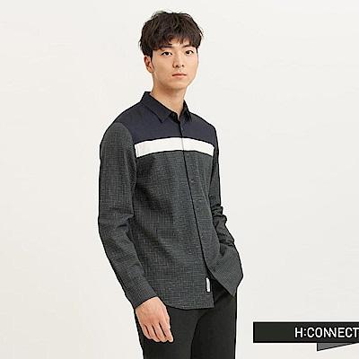 H:CONNECT 韓國品牌 男裝 - 色塊拼接格紋襯衫-綠(快)
