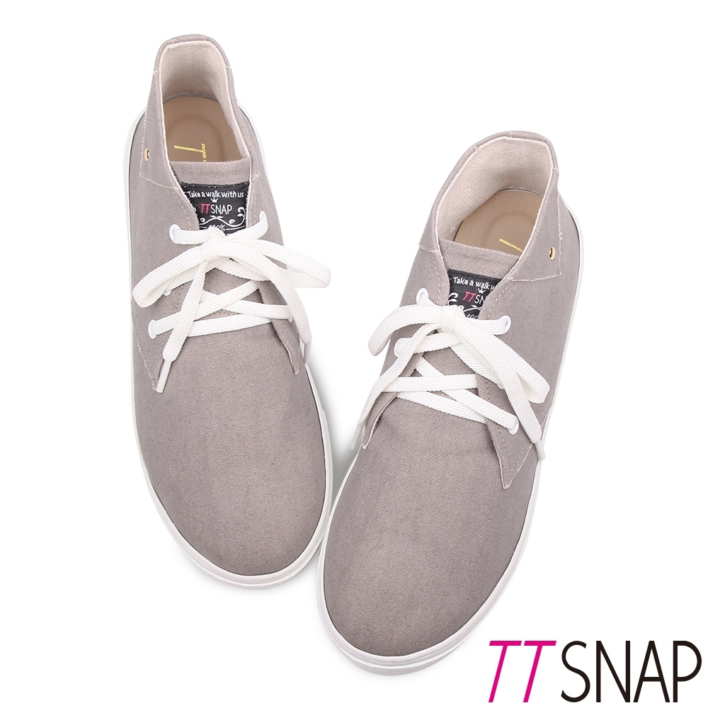 TTSNAP休閒鞋-MIT細緻水洗帆布綁帶厚底鞋 灰