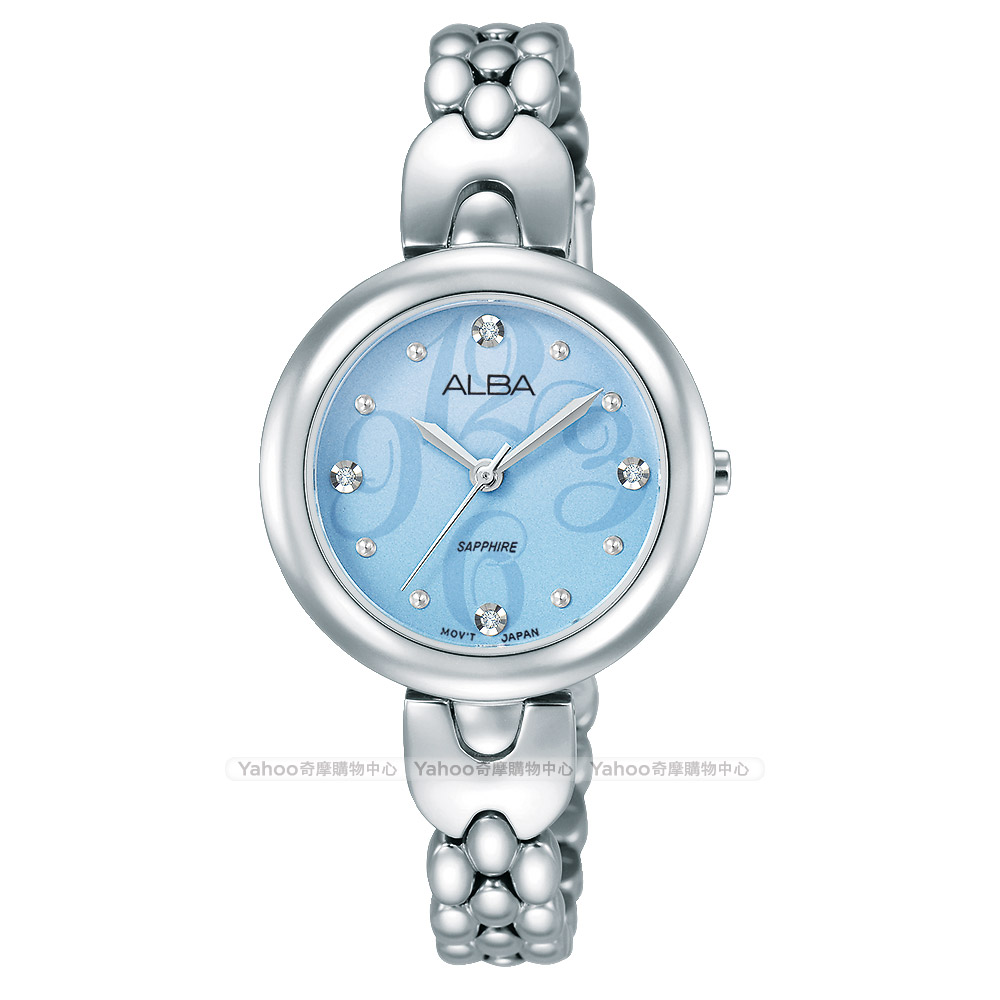 ALBA 雅柏 施華洛世奇晶鑽手鍊女錶(AH8345X1)-藍x銀/28mm