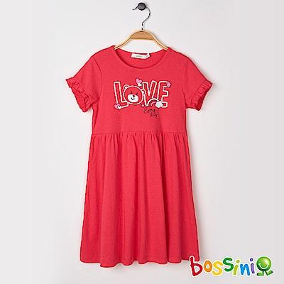 bossini女童-印花連身洋裝02紅