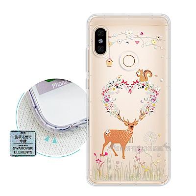 EVO 紅米Note 5 異國風情 水鑽空壓氣墊手機殼(小鹿松鼠)