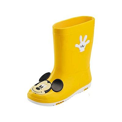 迪士尼 米奇 經典大臉造型 中筒雨鞋-黃