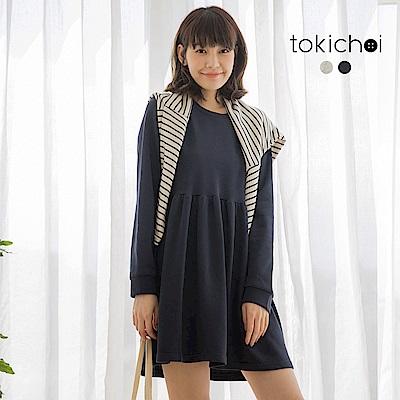 東京著衣-簡約搭配寬鬆長袖棉質洋裝-S.M.L(共兩色)