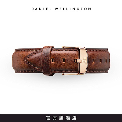 DW 錶帶 20mm金扣 紅棕真皮皮革錶帶