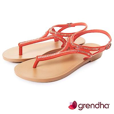 Grendha 異國情調T字帶串珠涼鞋-紅色