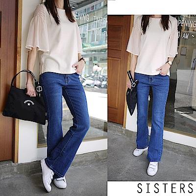 韓系刷色修身窄管小喇叭牛仔褲(S-3L) SISTERS