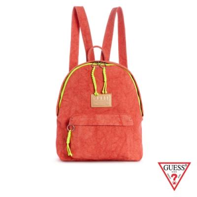 GUESS-女包-簡約撞色帆布後背包-紅