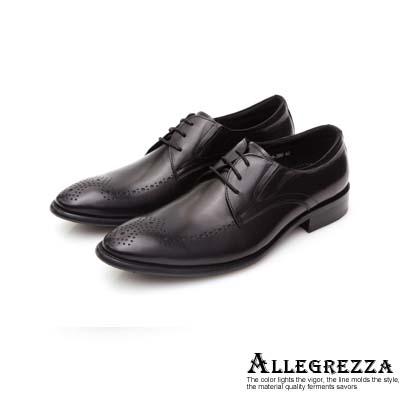 ALLEGREZZA真皮男鞋-復古紳士-鞋面藝紋雕花德比鞋  黑色