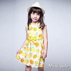 Mini Jule 洋裝 滿版檸檬後拉鍊綁帶無袖洋裝(黃)
