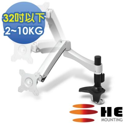 HE 鋁合金雙懸臂穿桌型懸浮式螢幕支架 - H20ATi (適用32吋以下LED/LCD)