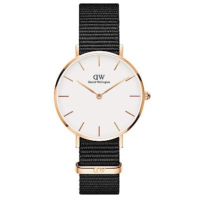 DW Daniel Wellington 時尚康沃爾黑NATO錶帶石英腕錶-金框/32mm