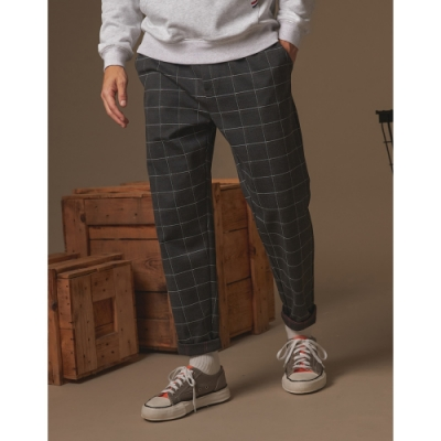CACO-彈力針織格紋褲-情侶款-男【A1AR036】